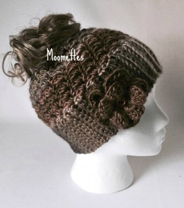Handmade Messy Bun Brown Black Beige Beanie Wood Button Crochet Flower Ponytail Hat