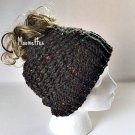 Handmade Messy Bun Charcoal Tweed Beanie Black Ponytail Hat Crochet