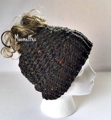 Handmade Messy Bun Charcoal Tweed Beanie Black Ponytail Hat Crochet