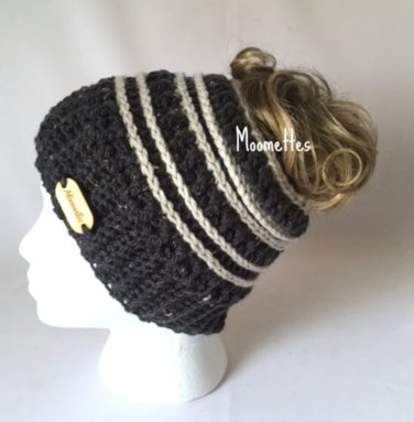 Handmade Messy Bun Dark Gray Beanie Wood Button Runner Grey Ponytail Hat Beige Stripe