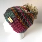 Handmade Messy Bun Beanie Colorful Runner Ponytail Hat Wood Button