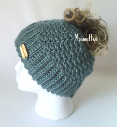 Handmade Messy Bun Blue Sage Green Beanie Wood Button Crochet Runner Ponytail Hat