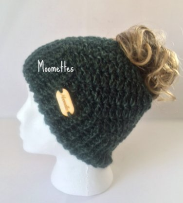 Handmade Messy Bun Hat Green Beanie Wood Button Runner Ponytail Beanie