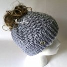 Handmade Messy Bun Hat Grey Light Gray Wood Button Runner Ponytail Beanie