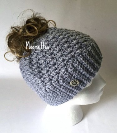 Handmade Messy Bun Hat Grey Light Gray Wood Button Runner Ponytail Beanie