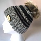 Handmade Messy Bun Hat Ponytail Beanie Black Stripe Wood Button Runner Cap