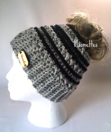 Handmade Messy Bun Hat Gray Grey Ponytail Beanie Black Stripe Wood Button Runner Cap