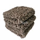 Handmade Kitchen Dish Cloths Brown White Dishcloths Crochet Set of 3