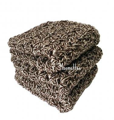 Handmade Kitchen Dish Cloths Brown White Dishcloths Crochet Set of 3