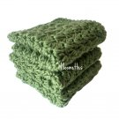 Handmade Kitchen Dish Cloths Sage Green Cotton Dishcloths Wash Cloth Crochet Set of 3