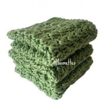 Handmade Kitchen Dish Cloths Sage Green Cotton Dishcloths Wash Cloth Crochet Set of 3