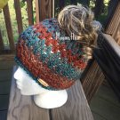 Handmade Messy Bun Hat Teal Blue Brown Stripe Beanie Wood Button Pony Tail