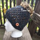 Crochet Handmade Messy Bun Beanie Wool Fisherman Hat Grey Slate Gray Tweed Cap Ponytail Wood Button