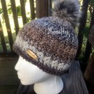Handmade Faux Fur Pom Pom Hat Black Brown Gray Beige Nordic Beanie Wood Button Crochet