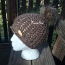Handmade Faux Fur Pom Pom Hat Tweed Aran Nordic Brown Beanie Wood Button Crochet