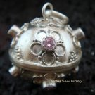 925 Silver Rose Quartz Chime Ball Pendant CH-303-KA