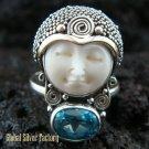 925 Silver Blue Topaz Sajen Goddess Ring GDR-663-KT