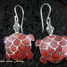 925 Silver Red Coral Turtle Earrings ER-446-NY