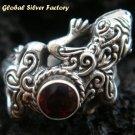 925 Silver Garnet Gecko Lizard Ring RI-243-KT