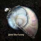 925 Silver Grey Nautilus Shell Pendant SP-372-KT