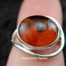 Sterling Silver Amber Gemstone Ring RI-257-NY