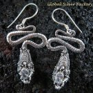 925 Silver CZ Snake Earrings ER-486-KA