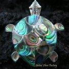 925 Silver Turtle Paua Shell Brooch Pendant BC-109-KA