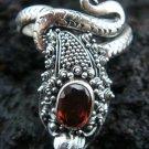 925 Silver & Garnet Snake Ring RI-224-KT