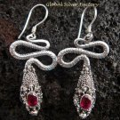 925 Silver Garnet Snake Earrings ER-483-KA