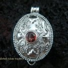 925 Silver Garnet Locket Pendant LP-171-PS