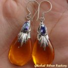 Silver Amber (syn) & Amethyst Earrings SJ-199-KA