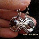 925 Silver & Smokey Quartz Round Earrings ER-479-KT