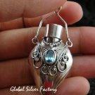 925 Silver & Blue Topaz Perfume Pendant PP-324-GSF