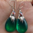 925 Silver Green Quartz & Garnet Earrings SJ-195-KA