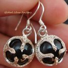 925 Silver Black Chakra Chime Ball Earrings CBE-150-KT