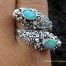 925 Silver Opal Double Head Snake Ring RI-274-KT