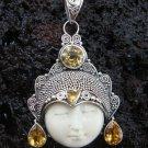 925 Silver & 4 Citrine Goddess Pendant GDP-633-KT