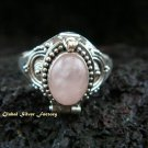 925 Silver Rose Quartz Poison Ring LR-487-KT