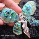 925 Silver Paua Shel Angel Brooch Pendant BC-122-KT