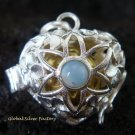 925 Silver Opalite Heart Harmony Ball Pendant HB-287-PS