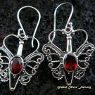 925 Silver Garnet Butterfly Earrings ER-436-IKP
