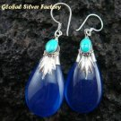 Silver Blue Shappire (syn) & Turquoise Earrings SJ-194-KA