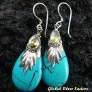 Silver Turquoise & Peridot Teardrop Earrings SJ-187-KA