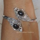 Silver Black Onyx Double Snake Head Bangle SBB-208-KA