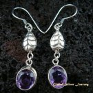Leaf Design & Amethyst Dangle Earrings ER-451-NY
