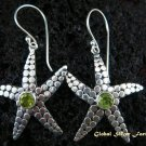 925 Silver & Peridot Star Fish Design Earrings ER-442-NY