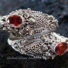 Sterling Silver Garnet Snake Ring RI-149-KA