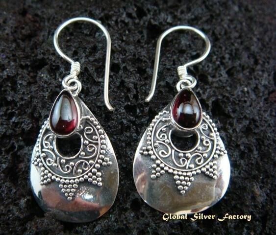 925 Silver & Garnet Traditional Earrings ER-442-NY