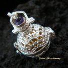 Silver Amethyst Harmony Ball Pendant 16mm HB-278-PS