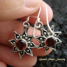 925 Silver & Garnet Sun Design Earrings ER-434-IKP
